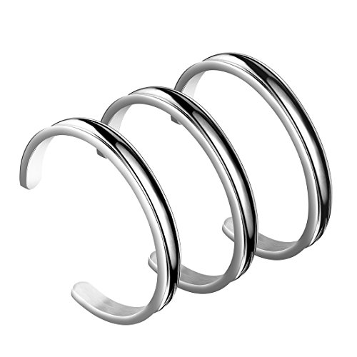 - WUSUANED 7mm Stainless Steel Hair Tie Deep Grooved Cuff Bangle Bracelet for Women Girls (7mm 3 PCS silver)