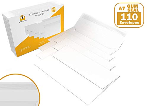 110 5x7 White Gum Seal Invitation Envelopes - A7 - for 5x7 Cards (5 ¼ x 7 ¼ inches) ()