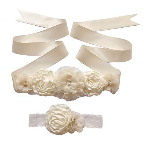 Maternity Sash Belt Flower Bridal Floral Pregnant Sash,Girls Dress Belt, Belt for Women Wedding.50(Color B)