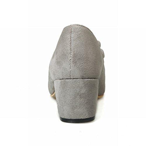 Carolbar Womens Archi Scarpe Da Sera Fashion Office Lady Chunky Tacco Medio Pompe Scarpe Grigie