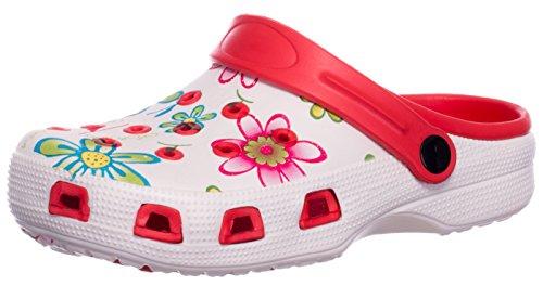 Sandali Bianco Bagno Floreale Scarpe Donna Scarpa Rosso Zoccoli Motivo Ciabatte brandsseller Giardino da Pantofole x4TOx0q8