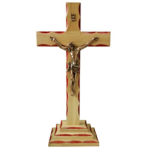FengMicon Jesus on Wood Cross Standing Crucifix Catholic,13.39 Inch by FENGMICON