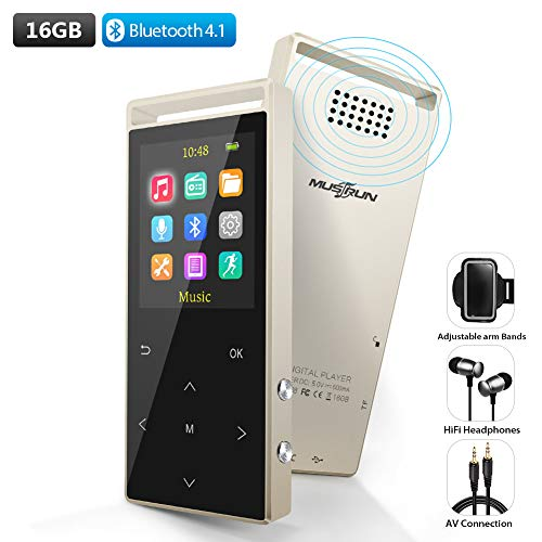 MP3 Player,16GB Bluetooth mp3 Player with FM Radio,Speakers,Lossless Music Player with Pedometer for Walking,Support Voice Recorder,Up to 2000 mins Playback and Support up to 128GB,with Armband