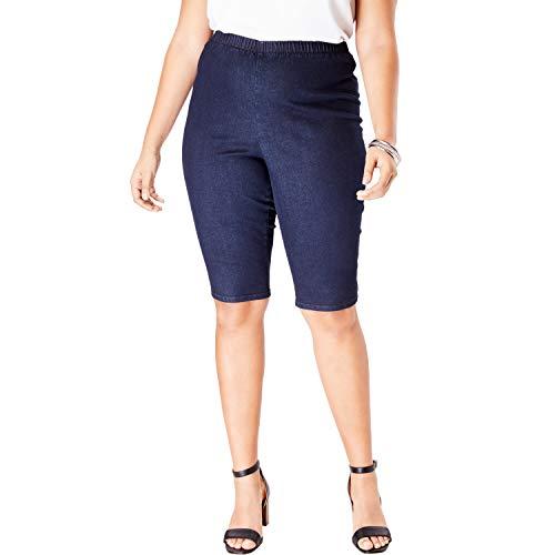 (Roamans Women's Plus Size Pull-On Stretch Denim Bermuda Short - Indigo Wash, 14 W)