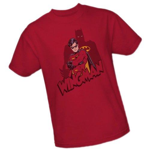 Wingman -- Robin -- Batman Adult T-Shirt, Medium (Adult Bat Wings)