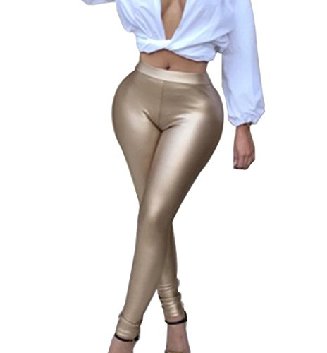 GUOLEZEEV Liquid Wet Look Shiny Metallic Stretch Leggings Khaki (Adult Liquid Metallic Pant)