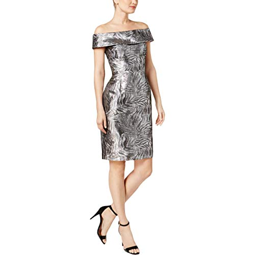 (Calvin Klein Womens Petites Metallic Off-The-Shoulder Cocktail Dress Silver 6P)