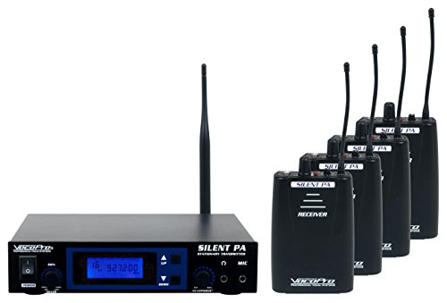 VOCOPRO SilentPA-Practice 16-Channel UHF Wireless Audio Broadcast System - Four Channel Wireless Lavaliere Microphone