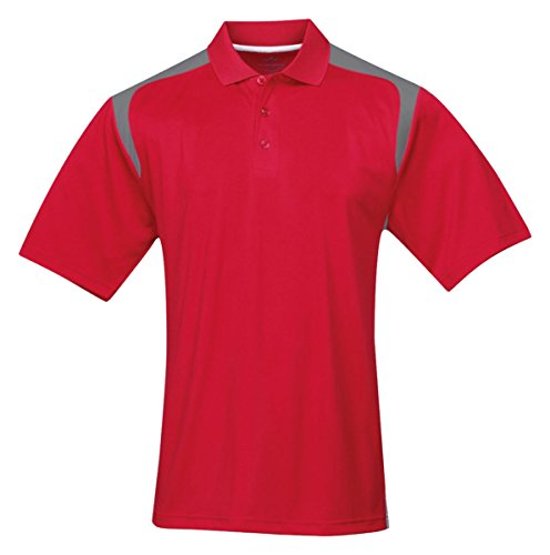 (Tri-mountain Mens 100% Polyester UC Knit Polo Shirt. 145TM - RED / GRAY_L)