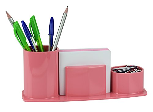 Acrimet Millennium Desk Organizer Pencil Paper Clip Cup Holder (With Paper) (Solid Pink)