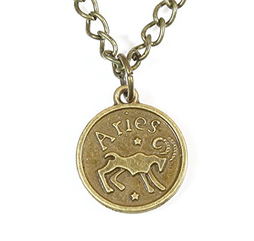 ARThouse Sign of Aries, Zodiac Aries (The Ram) Pendant on Chain; 20 Inches Adjustable