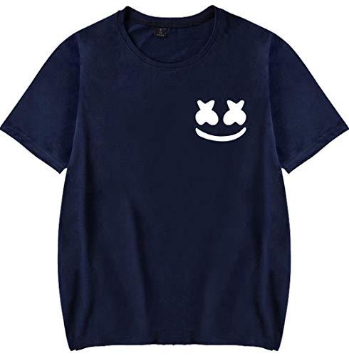 Emilyle Manica Suono Smile Cool Marshmello Uomo Blu Dj A T 2 Edm Pop shirt Sorridente Hip Maglietta Navy Elettrico Faccia Stampa Corta rRrWzI07