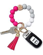 Coolcos Giftable Portable House Car Keys Ring Holder, Elastic Beaded Silicone Bracelet Bangle Wristlet Keychains W/ Tassel