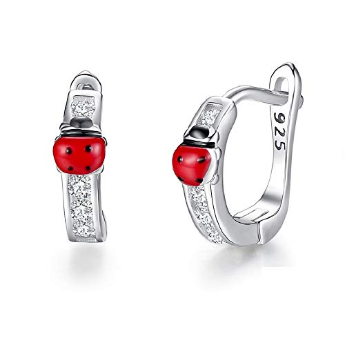 PAPWOO Ladybug Earrings 925 Sterling Silver Miraculous Ladybug Stud Charm Costume Fashion Jewelry Accessories for Women Teen Girls ()