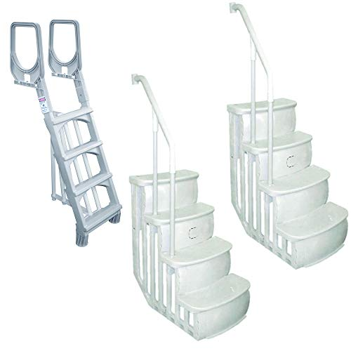 Durable Ladder for Swimming Pool Bundled w/ Main Access Smart Step Pool (2 Pack)
