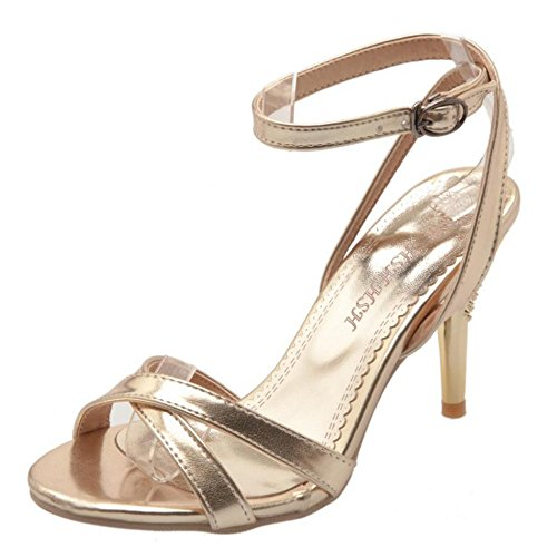 Gold Fashion Sandals TAOFFEN Shoes Ankle 63 Strap Women 56HqY