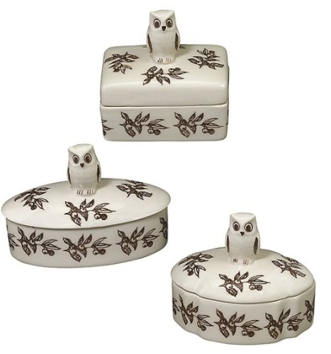 Brown and White Owl Trinket Boxes Assorted Set of 3 Andrea by (Sadek Box)