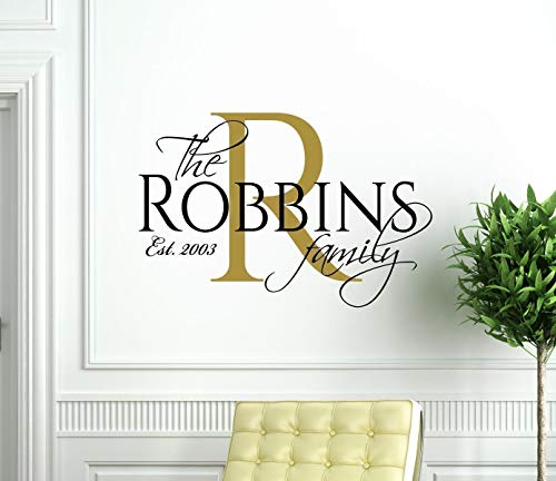 Family Name Wall Decal Vinyl Home Decor – Personalized Living Room Decoration – Elegant Multi-Color Wall Art Stickers with Established Year
