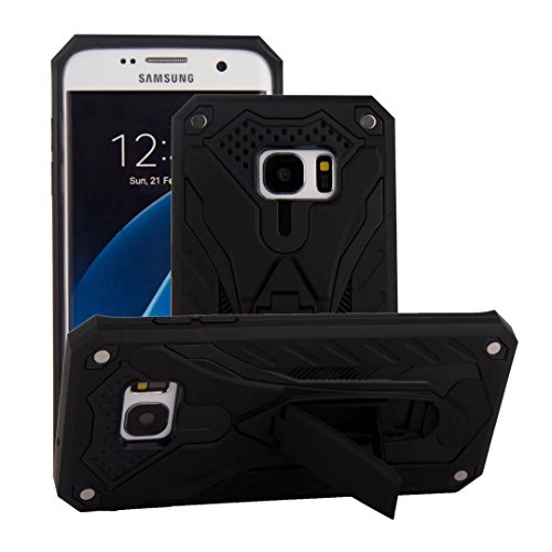 Galaxy S7 Edge Case,Funfe Heavy Duty Built-in Kickstand Protective Cases for Samsung Galaxy S7 Edge Dual Layers Armor Shock Absorption Impact Resistant Rugged Stand Back Cover(Black)