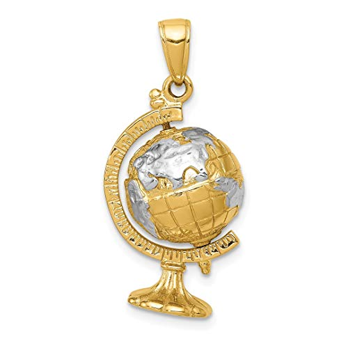 ICE CARATS 14kt Yellow Gold 3 D Moveable Globe Pendant Charm Necklace Travel Transportation Fine Jewelry Ideal Gifts For Women Gift Set From (Gold 3d Globe Charm)