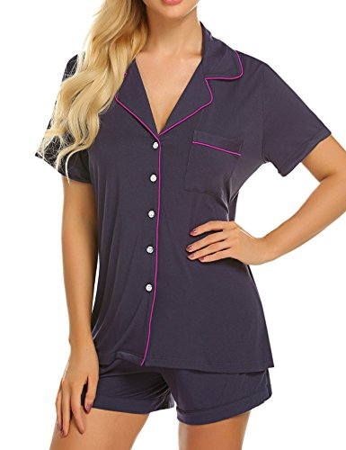 Set Pj Ladies (Ekouaer Plus Size Pajamas Ladies Elegant Sleepwear Short Sleeve Loungewear Set (Purple Grey,XXL))