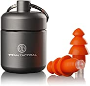 Titan Tactical 29NRR Reusable Shooting Ear Plugs w/Removable Noise Filter + Heavy Duty Aluminum Case (for Norm
