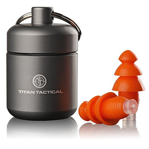 Titan Tactical 29NRR Reusable Shooting Ear Plugs w/Removable Noise Filter + Heavy Duty Aluminum Case (for Normal + Small Ear Canals)
