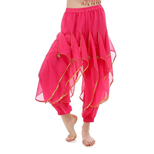 JEANSWSB Belly Dance Rotating pants Skirts 120D Chiffon Adult (Pink Indian Sari Adult Costume)