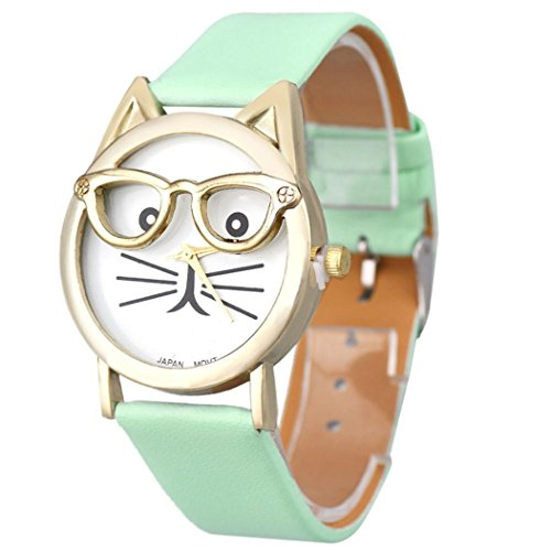 Price comparison product image Winhurn Super Cute Cat Glasses Design Analog Quartz Women Wrist Watch (Blue)