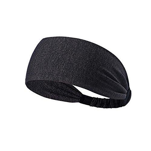 URIBAKE Women Elastic Headband Fitness Soft Cotton Turban Head Hair Warp Band Wide Sport Yoga Dark Gray