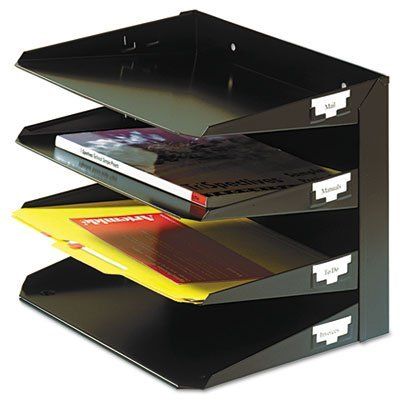 Multi Steel Tier Organizers Horizontal - Steelmaster Multi-Tier Horizontal Letter Organizers, Four Tier, Steel, Black, Sold as 1 Each