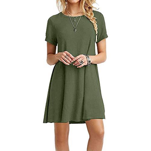 Asatr Women Casual O-Neck Short Sleeve Solid Mini Dress Dresses Army Green ()