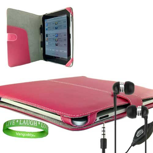 Pink Leather Melrose Case - Melrose Apple Ipad Leather Case Hot Pink Cover Accessories Kit Includes ? Hot Pink Melrose iPad Leather Cover + iPad Earphones with Mic + Live Laugh Love Silicone Wrist Band!!!