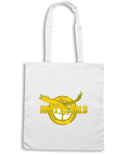 T-Shirtshock - Bolsa para la compra TM0383 Navy Seals usa Blanco