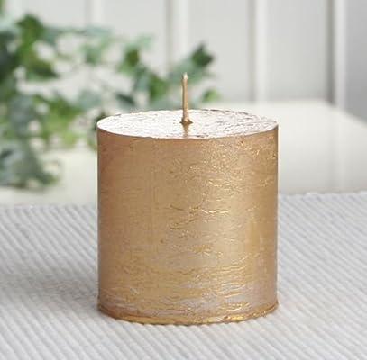 Rustik-Stumpenkerze gold-metallic 10 x 7 cm /Ø