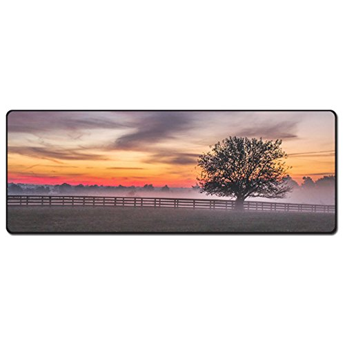 "136 Designs Collection Extended Gaming Large Mouse Pad XXL Wide Big Keyboard Desk Mat Non Slip Waterproof 5mm Thick (31.5"" x 11.8"") - Mist Sunset"
