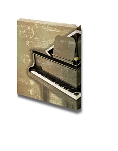 Vintage Abstract Green Sound Grunge Background with Grand Piano Wall Decor