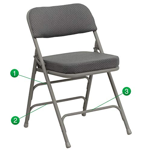 Flash Furniture HERCULES Series Premium Curved Triple Braced & Double Hinged Gray Fabric Metal Folding Chair
