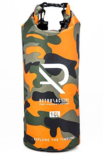 Retroactive CAMOUFLAGE 10L ULTRALIGHT WATERPROOF BACKPACK | DUAL REMOVAL SHOULDER STRAP | TRAVELING, KAYAKING, SNOWBOARDING, BEACH, BIKING, HIKING (Orange) by RETROACTIVE