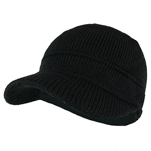 Army Style Acrylic Cadet Winter Beanie Hat Visor - Black