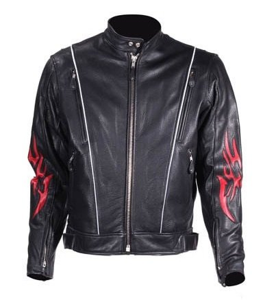 Mens Leather Motorcycle Jacket with Flames (Size 4XL, 60)