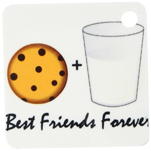 3dRose Cute Cartoon Milk and Cookies - Best Friends Forever - Key Chains, 2.25 x 4.5 inches, set of 2 (kc_43203_1)