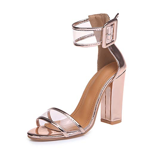 (Women's Heeled Sandals Ankle Strap Block Chunky High Heel Open Toe Pump Sandals Transparent gold-10)