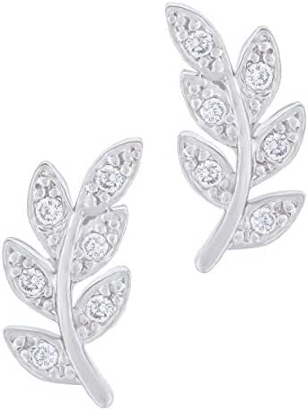 Orrous & Co. Legacy Collection Women's  18K White Gold Plated Beautiful Leaf Stud Earrings, One Size