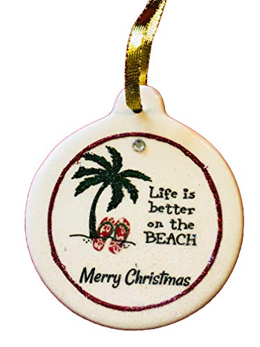 Life is Better at The Beach Christmas 2018 Porcelain Ornament Palm Tree Vacation ()