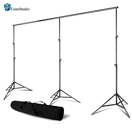 LimoStudio Photo Video Studio, Max 20 ft. Wide, Length Adjustable Photo Background Muslin Backdrop Support System with 3 Stands, Photography Studio, AGG2279