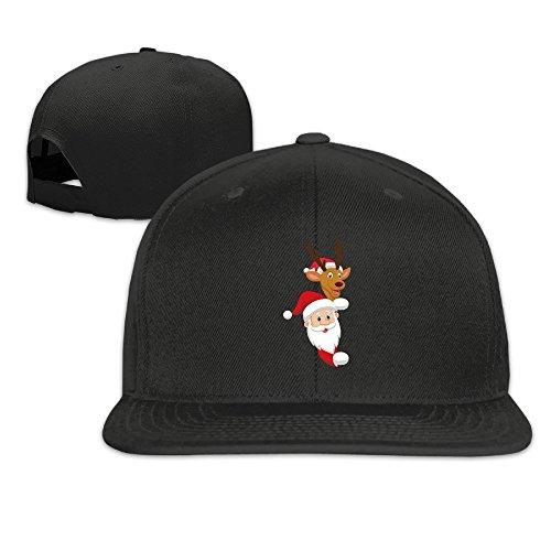 BASEE Cartoon Santa And Red Nose Reindeer Adjustable Flat Along Baseball Cap Black ()