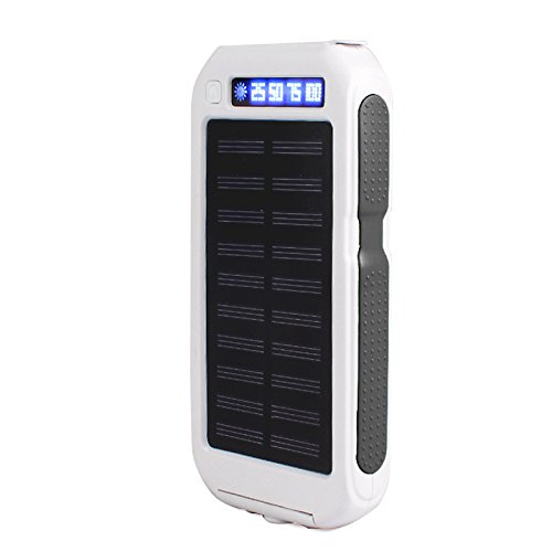 Eachbid 10000mAh Waterproof Solar Charger Battery Portable LED Dual USB output Solar Powered Phone Charger for camping hiking outsports adventurous exploring White Black