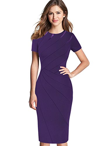 VFSHOW Womens Elegant Crew Neck Patchwork Work Business Office Sheath Dress 2285 PUP L