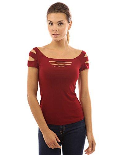 l'paule shirt manches Sexy une T de femmes rond avec PattyBoutik stretch ouverture col Bourgogne courtes BwqaYWPIxI
